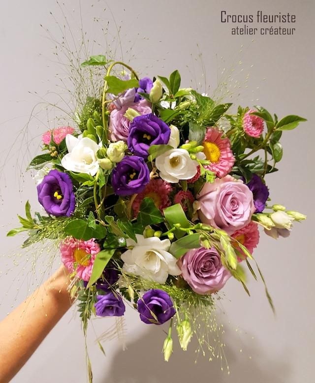 Bouquet de mariée flou rose, parme, violet et blanc