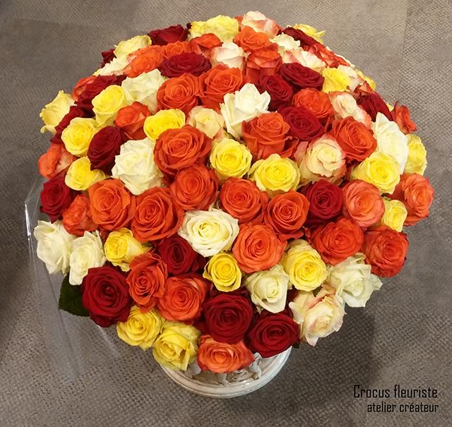 Bouquet rond de 100 roses