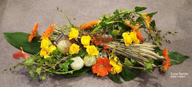 Centre de table des mariés orange et jaune