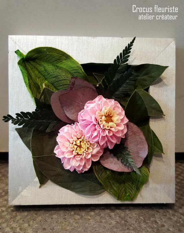 Tableau de fleurs et végétaux stabilisés