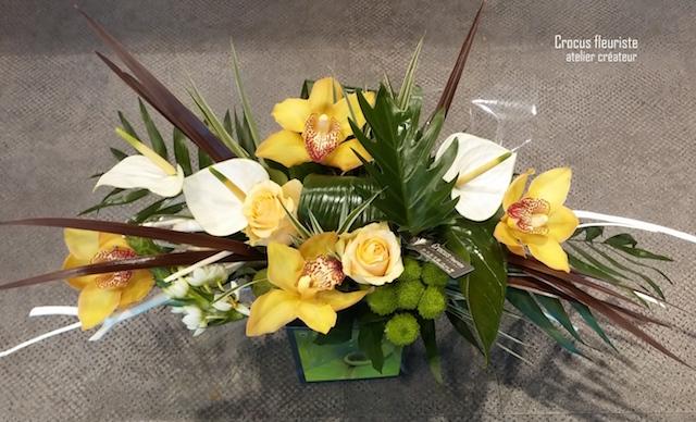 Bouquet rond horizontal blanc et jaune