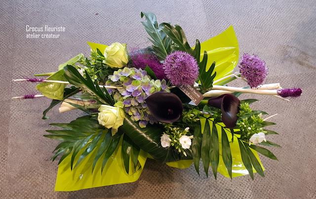 Bouquet rond horizontal vert anis et violet